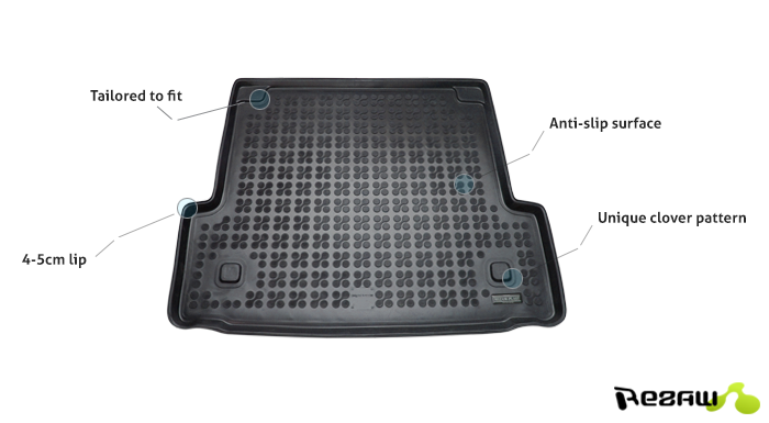 Tailored Rubber Boot Car Mat Liner Heavy Duty Volvo V40